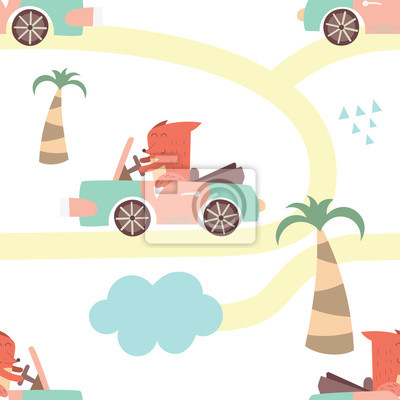 Colorful seamless pattern with cute animals and cars. Vector Illustration. Great for baby clothes, greeting card, wrapping paper. Fox in cabriolet.