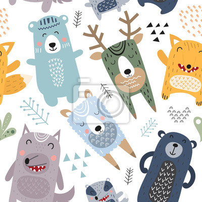 Colorful seamless pattern with cute forest animals in Scandinavian style. Vector Illustration. Great for baby clothes, greeting card, wrapping paper. Bear, badger, llama, fox, wolf, deer.