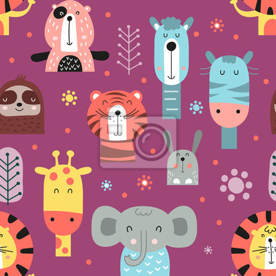 Colorful seamless pattern with cute jungle animals in Scandinavian style. Vector Illustration. Kids illustration for nursery design. Great for baby clothes, greeting card, wrapping paper.