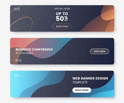 Obraz Colorful web banner with push button and dark backdrop. Collection of horizontal promotion banners with abstract liquid shapes. Header design. Coupon template. Vector eps 10