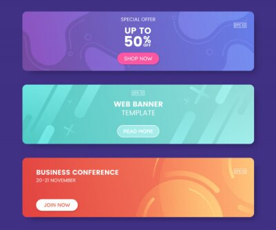 Obraz Colorful web banner with push button. Collection of horizontal promotion banners with gradient colors and abstract geometric backdrop.Header design. Vibrant coupon template. Vector eps 10
