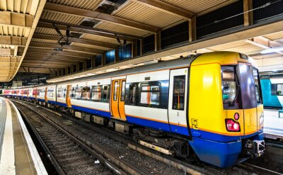 Commuter train at London Euston station