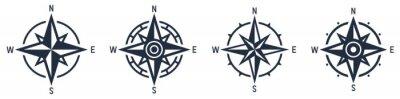 Obraz Compass icon set. Wind rose symbol. Vector
