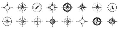 Obraz Compass icons. Set of vector compass icons.