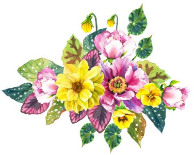 Composition with Pansies, Peonies, Dahlias. Watercolor bouquet. Botanical illustrations with flowers and plants on white background.