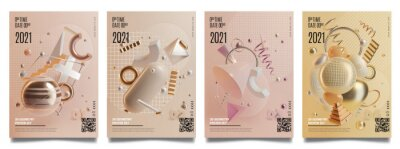 Obraz Concept Banner Cards with Realistic 3d Detailed Abstract Geometry Elements. Vector