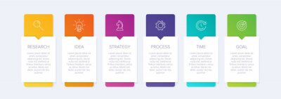 Obraz Concept of arrow business model with 6 successive steps. Six colorful graphic elements. Timeline design for brochure, presentation. Infographic design layout