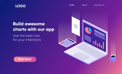 Concept of landing page . Analysis data illustration. Business success.Financial review with laptop and infographic elements. 3d isometric flat design. Vector illustration.