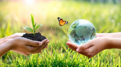 Obraz Concept Save the world save environment The world is in the grass of the green bokeh background