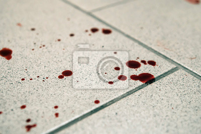 Obraz Conceptual image with blood on it resting on tiles on floor