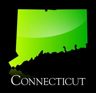 Obraz Connecticut green shiny map