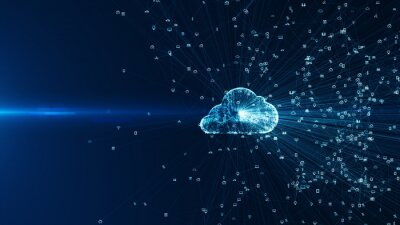 Obraz Connecting people on the internet, nodes transforming. Social network connections. Information technology of internet of things IOT big data clouds computing using artificial intelligence AI.