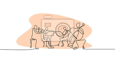 Obraz continuous line drawing of jazz classical music concert performance on the stage.