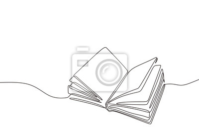 Obraz Continuous one line drawing open book with flying pages. Vector illustration education supplies back to school theme.