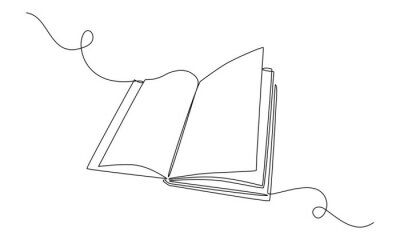 Obraz Continuous one line drawing Opened book. Education study and knowledge library concept. Vector illustration