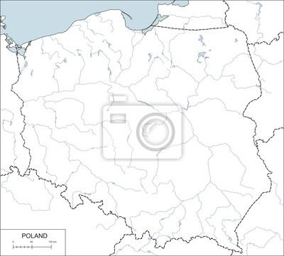 Obraz Contour Mapa Polski Z Wojewodztw Rzeki I Jeziora Na Wymiar