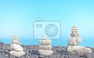 Coral pyramids on beach.