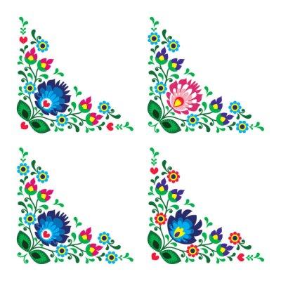 Obraz Corner granicy polsko kwiatowy wzór ludowy, Wzory łowickie