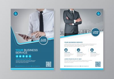 Obraz Corporate business cover and back page a4 flyer design template for print