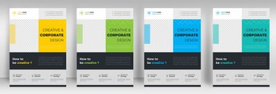 Obraz Corporate business flyer template design set with blue, yellow, teal and light green color. digital marketing agency flyer, business marketing flyer set, digital marketing new flyer. flyer design set.