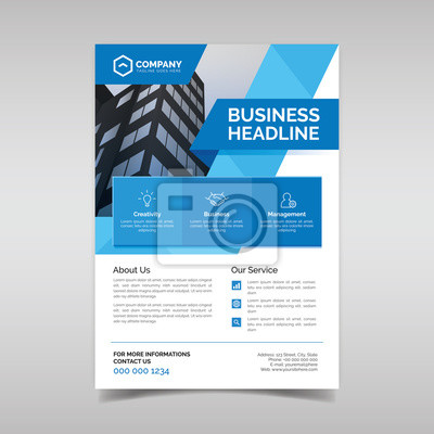 Obraz Corporate business flyer template with blue geometric shapes