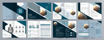 Obraz Corporate business presentation guide brochure template, Annual report, 16 page minimalist flat geometric business brochure design template, A4 size.