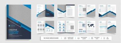 Obraz Corporate modern bi fold brochure template and company profile with blue and black creative shapes annual report design ,Multipurpose editable template