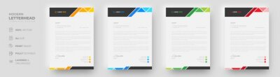 Obraz corporate modern letterhead design template with yellow, blue, green and red color. creative modern letter head design template for your project. letterhead, letter head, simple letterhead design.