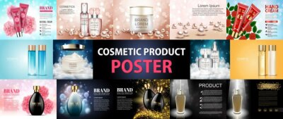 Obraz Cosmetic product ad poster. Beauty product, white cosmetic containers with advertising background ready to use, luxury nature concept skin care ad, cosmetic, product, ad, package, illustration vector.