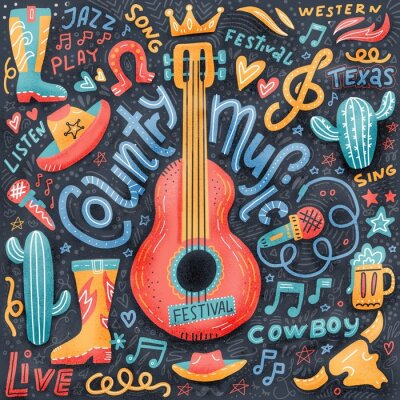 Obraz Country music print concept for postcards or festival banners. hand drawn illustration in textured flat doodle style. Guitar with written lettering.