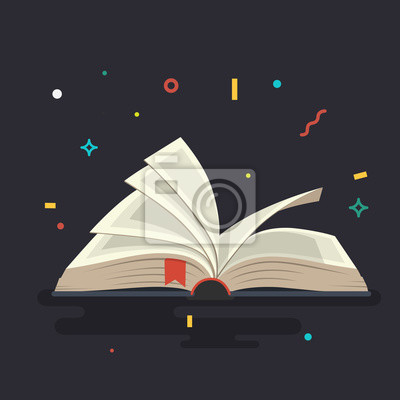Obraz Covered opened book with pages. Vector illustration.