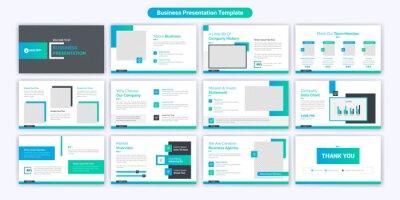 Obraz Creative business powerpoint presentation slides template design. Use for modern keynote presentation background, brochure design, website slider, landing page, annual report, company profile