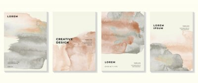 Obraz Creative cover design vector set. Watercolor book cover design, Abstract art design with colorful watercolor background. Can be use for poster, wall arts, magazine,  brochure , banner and website.