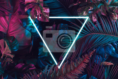 Obraz Creative fluorescent color layout made of tropical leaves. Flat lay neon colors. Nature concept.