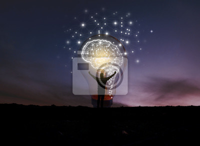 Obraz creative idea.Concept of idea and innovation / night sky background / soft focus picture / Blue tone concept