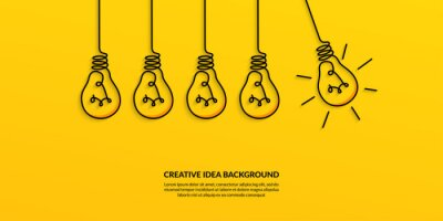 Obraz  Creative idea concept with light bulb on yellow background