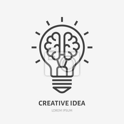 Obraz Creative idea flat line icon. Brain in lightbulb vector illustration. Thin sign of innovation, solution, education logo