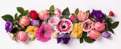 Obraz Creative layout made with beautiful flowers on white background.