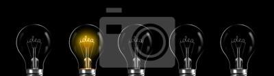 Obraz Creativity and innovation concept. idea word shining in the bulb
