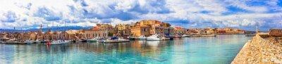 Crete island. Panorama of beautiful Chania old town. Greece travel and landmarks