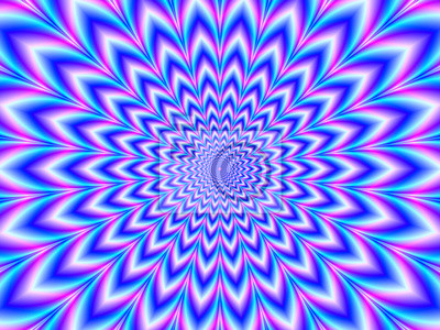 Obraz Crinkle Cut Pulse in Blue Pink and Violet / A digital abstract fractal image with an optically challenging psychedelic design in blue, pink and violet,
