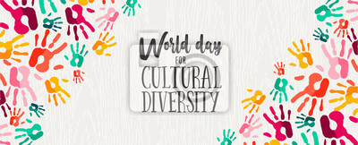 Obraz Cultural Diversity Day banner of color human hands