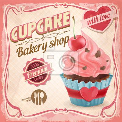 Obraz Cupcake miłość retro