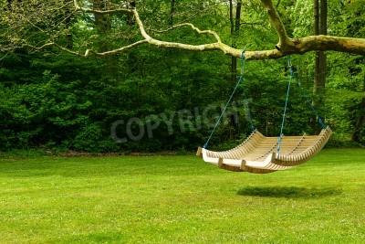 Obraz Curved huśtawka ławka zwisające z gałęzi drzewa w bujnym ogrodzie z lasów na odprężające na upalne, letnie dni