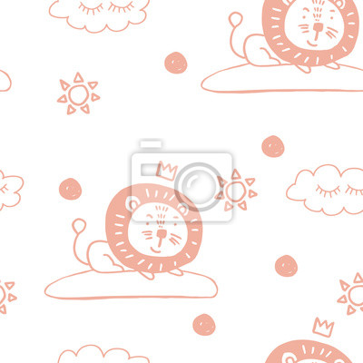 Cute animals nordic trandy pattern with heart for decoration interior, print posters, greating card, bussines banner, wrapping in modern scandinavian style in vector. Pastel color.