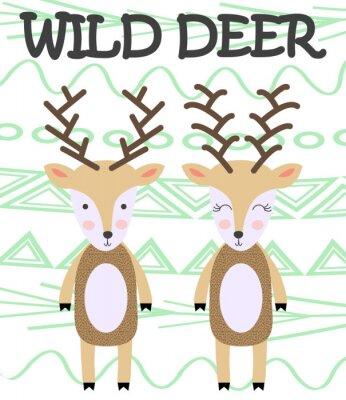 Obraz Cute cartoon deer. Composition with folk art animals and floral decor elements. Hand drawn clip art. Scandinavian style