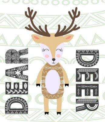 Obraz Cute cartoon deer. Composition with folk art animals and floral decor elements. Scandinavian style