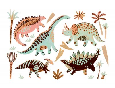 Obraz Cute cartoon dinosaurs poster in scandinavian style