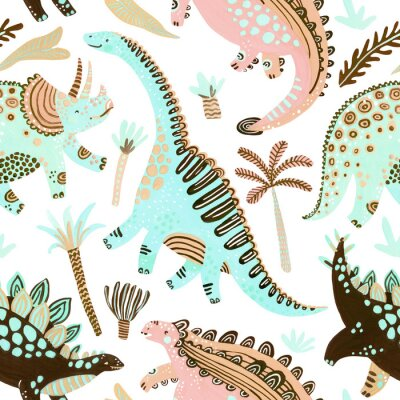 Obraz Cute cartoon dinosaurs seamless pattern in scandinavian style