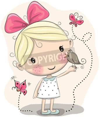 Obraz Cute Cartoon Dziewczyna z ptakiem i motyli na tle różowy